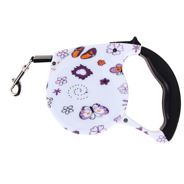 5M Retractable Floral Dog Leash - Elegant Shoppers