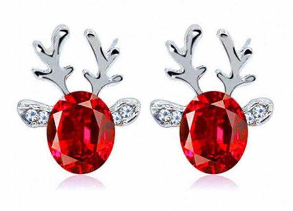 Christmas Reindeer Crystal Earrings - Elegant Shoppers