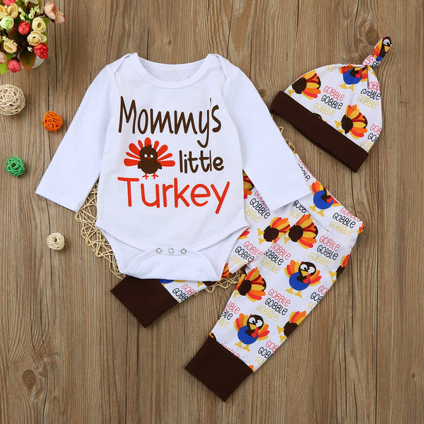 Mommy's Little Turkey Newborn Infant Thanksgiving Romper Sets - Elegant Shoppers