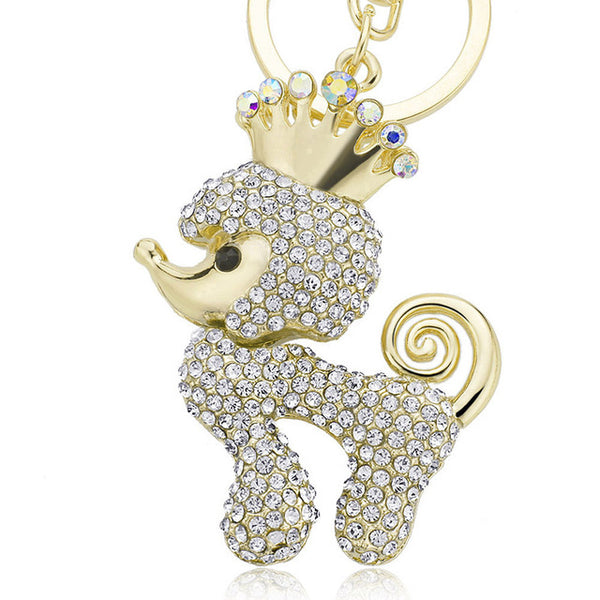 Crystal Poodle Keychain