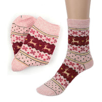 Christmas Deer Design Knit Wool Socks - Elegant Shoppers