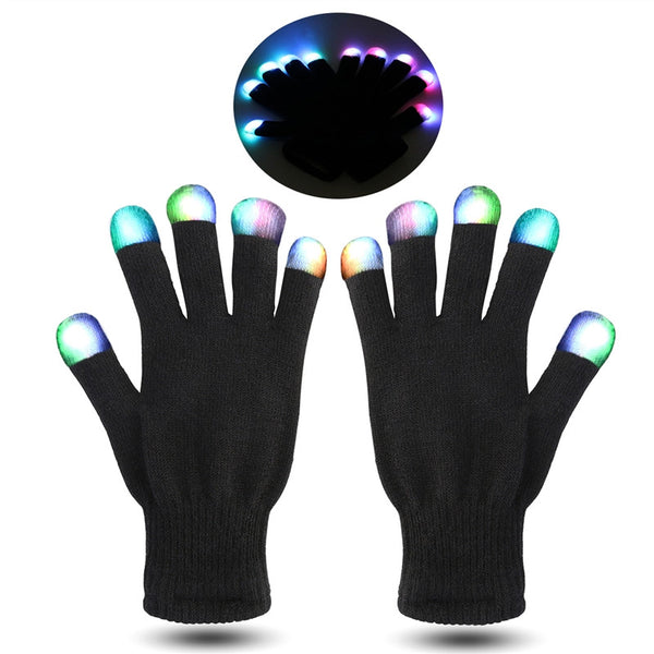 Pair of Black and White Flashing Finger LED Lighting Gloves - Elegant Shoppers