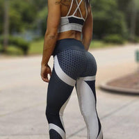Mesh Pattern Print Leggings fitness Leggings For Women Sporting Workout Leggins Elastic Slim Black White Pants - Elegant Shoppers