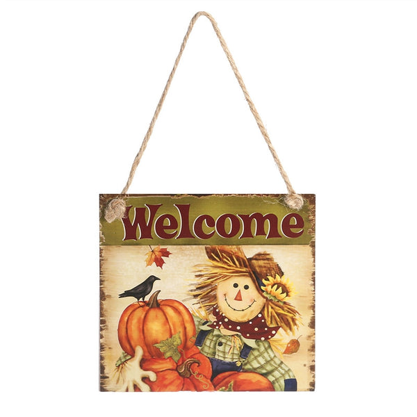 Thanksgiving Wooden Hanging Plaque Sign | Thanksgiving Door Hanger Wall Decorations (Welcome) - Elegant Shoppers