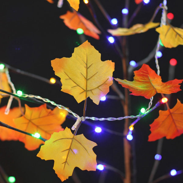 Maple Leaf Decorations String Lights - 10 Fairy LEDs Fall Garland Thanksgiving Decoration Holiday Lights