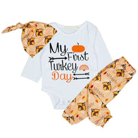 Thanksgiving Romper Set - My First Turkey Dat Newborn Set - Elegant Shoppers