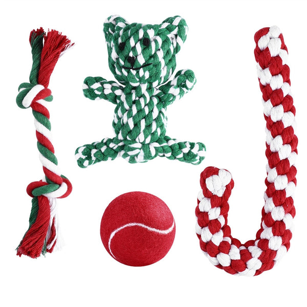 Woven Cotten Holiday Rope Pet Stockings for Dogs - Elegant Shoppers