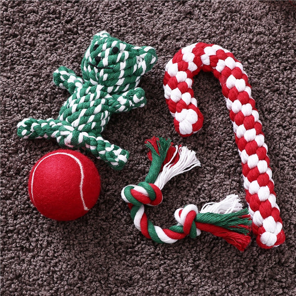 Woven Cotten Holiday Rope Pet Stockings for Dogs