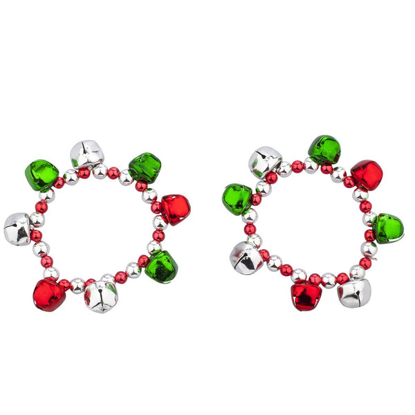 SilverTone Christmas Jingle Bells Bracelet Set - Elegant Shoppers