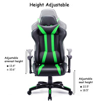 Costway Executive Racing Style High Back Reclining Chair Gaming Chair Office Computer (Black+Green) - Elegant Shoppers
