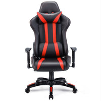 Costway Executive Racing Style High Back Reclining Chair Gaming Chair Office Computer (Black+Red) - Elegant Shoppers