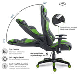 Costway High Back Executive Racing Reclining Gaming Chair Swivel PU Leather Office Chair - Elegant Shoppers
