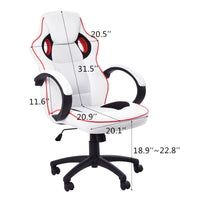 Costway Executive High Back Sport Racing Style Gaming Office Chair Computer Swivel White - Elegant Shoppers