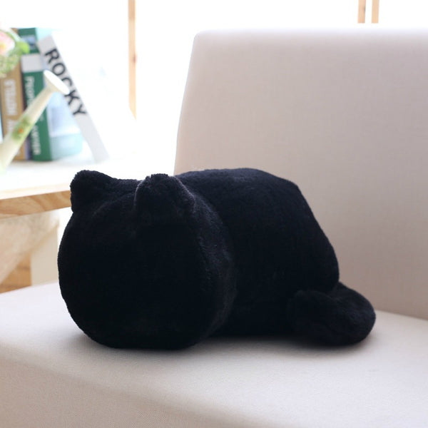 Pure Color Back Cat Plush Doll Fashion Cute Stuffed Animal Simple Plush Toy Room Decorations Girlfriends Birthday Holiday Gifts - Elegant Shoppers