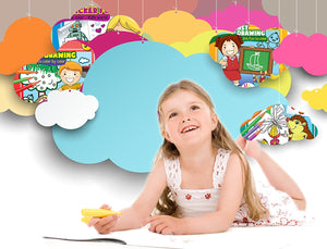 Children's Activity books for Age 2+ include Stickers and Coloring - Small Travel Size (6.6 x 6.3 inches) Pack of 4
