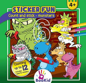 Activity Books For Kids Age 4 - Pack of 4 Includes It's Fun to Color by Color, Count and Stick - Monsters, Count and Stick - Summertime, Animals