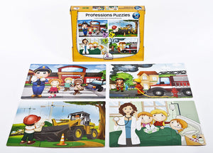 Set of 4 Baby Puzzle Games with an Increasing Difficulty Level - Professions. For 3+ Years Old