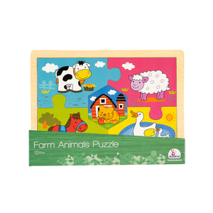 Durable and Colorful 5 Piece Wooden farm animal puzzle