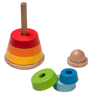 BooKid, Durable, and Colorful Toy Rings Wooden Stacking Toy for Toddlers. Includes 7 Brightly Colored Pieces for Stacking