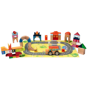 BooKid Durable Wooden Blocks City Toys for Toddlers, Babies and Kids 84 Pieces Includes Cardboard Surface to Build City