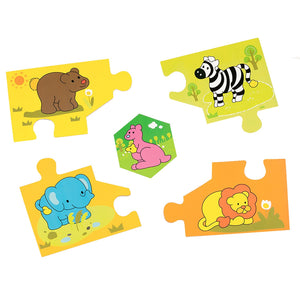 BooKid Durable and Colorful 5 Piece Wooden Wild Animal Puzzle for Toddlers - Includes Zebra, Elephant, Lion, Kangaroo, and Bear