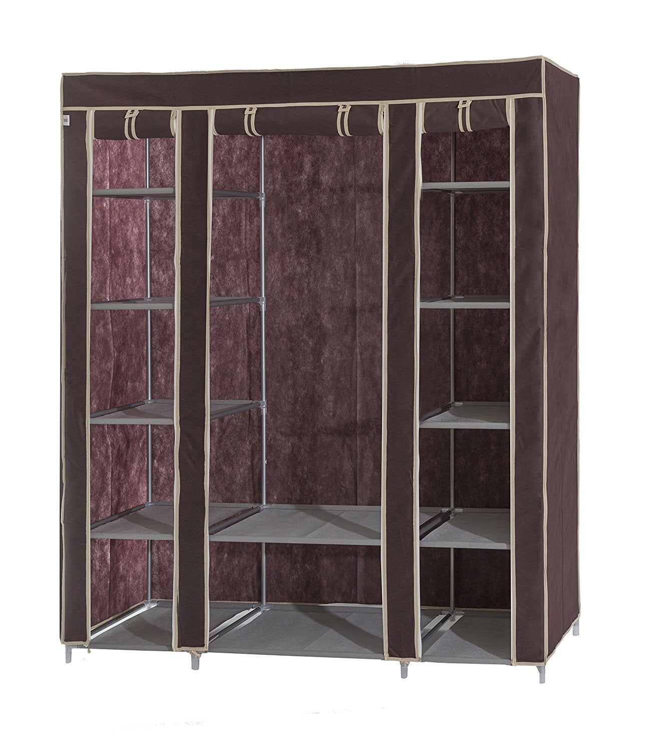 Portable Fabric Wardrobe With Shelves Covered Closet Rack Get It