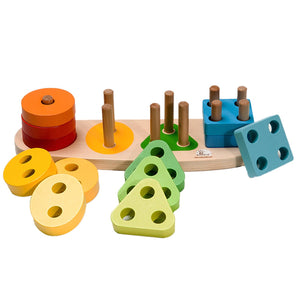 Durable and Colorful Wooden Shape Sorter and Color Sorter