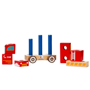BooKid Durable and Colorful 10 Pieces Wooden Firetruck Toy