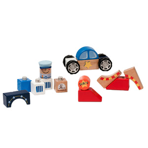 BooKid Durable Wooden Blocks Police Station Toys for Toddlers 19 Pieces Includes Policeman Figurine, Police Car, and Police Station Blocks