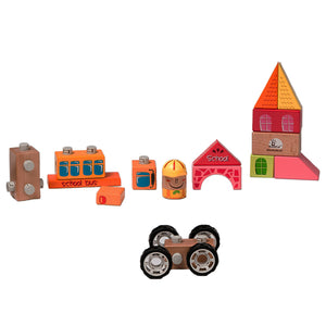 BooKid Durable Wooden Blocks School Bus Toddler Toys 19 Pieces Includes Driver, School Bus, and School Blocks