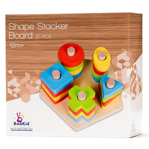 BooKid Durable and Colorful Wooden Shape Sorter and Color Sorter Toy for Toddlers - Includes Five Geometric Shapes in Different Colors on a Pentagon Shaped Wooden Base
