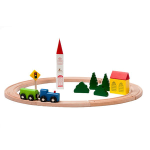 BooKid Durable and Colorful Circle Wooden Train Set Toy for Toddlers with Wooden Train Tracks and Train Track Accessories - Set Includes 19 Pieces Train Cars