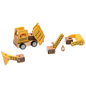 BooKid Durable and Colorful Wooden Toy Construction Vehicles Set Educational Toys for Toddlers - Set includes 6 Pieces