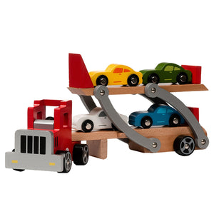 BooKid Durable and Colorful Wooden Car Transporter with Toy Cars and Toy Truck Educational Toy for Toddlers - Set Includes 9 Pieces