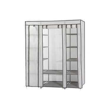 Portable Fabric Wardrobe with Shelves, Covered Closet Rack