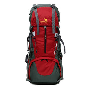 65L Travel, Hiking, Camping, Hunting Large Internal Frame Backpack By MMO – Rip Stop Fabric – Side Pockets – Adjustable Height Torso – Cushioned Shoulder Straps (Red)