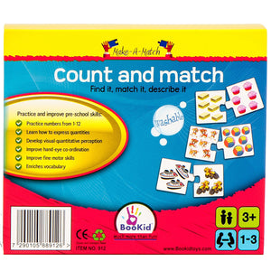 BooKid Make a Match Counting Puzzle for Kids with Twelve Pairs (3+ Years Old)