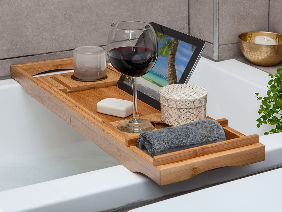 Bamboo Bathtub Tray Caddy - Expandable - Water Resistant - Bath ...