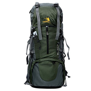 65L Travel, Hiking, Camping, Hunting Large Internal Frame Backpack By MMO - Rip Stop Fabric - Side Pockets - Adjustable Height Torso - Cushioned Shoulder Straps (Dark Green)