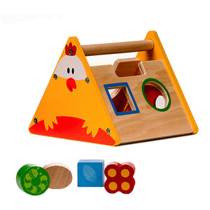 BooKid Durable and Colorful Wooden Shape Sorter, Match Shapes, Educational Toy