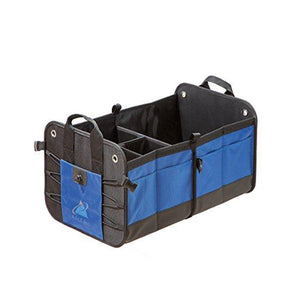 Premium Auto Trunk Organizer Car Storage Solution Cargo Travel Bag with Multiple Compartments (Blue-Black)
