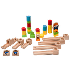 BooKid Durable Wooden Marble Run Toys for Toddlers 40 Marble Track Pieces