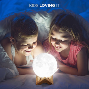 KP Solution Small Lunar LED 3D Printed Moon Color Changing Globe Light, Touch Control, USB Rechargeable Night or Desk Lamp, 4.7 Inch Diameter