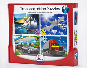 Set of 4 Baby Puzzle Games with an Increasing Difficulty Level - Transportation. For 3+ Years Old