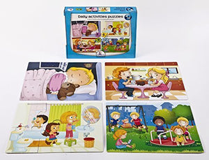 Set of 4 Baby Puzzle Games with an Increasing Difficulty Level - Daily Activities. For 3+ Years Old