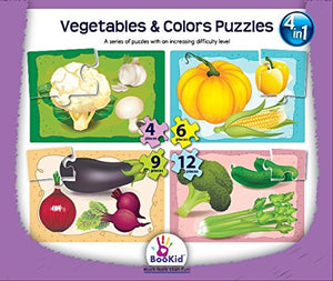 Set of 4 Baby Puzzle Games with an Increasing Difficulty Level - Vegetables & Colors. For 3+ Years Old