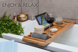 Bamboo Bathtub Tray Caddy - Expandable - Water Resistant - Bath Organizer