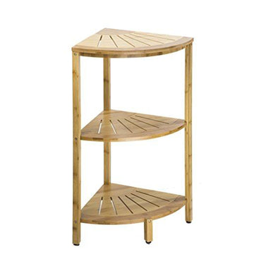 NATURAL BAMBOO THREE TIER CORNER SHELF STORAGE