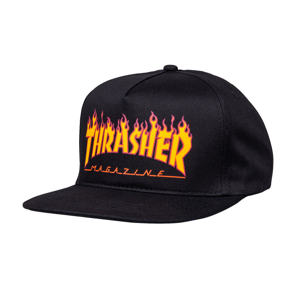 Thrasher Flame Logo Girl's Snapback | Black