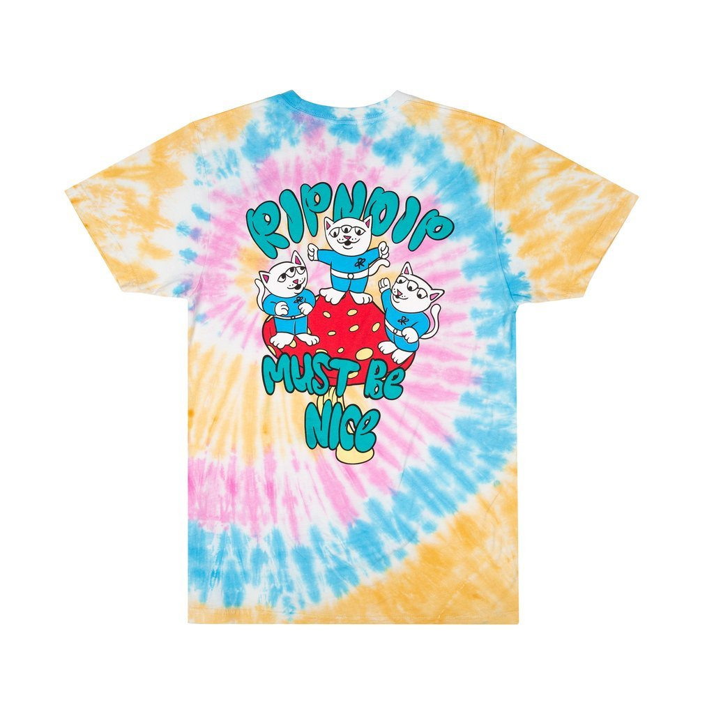 Rip N Dip Womens Alien Nerm T-Shirt | Gold Rainbow Tie Dye Wash